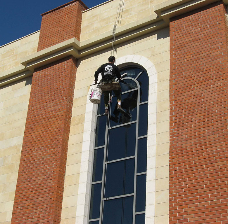 cleaning at height